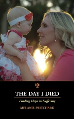 Melanie Pritchard's book is about her death and survival after experiencing an amniotic fluid embolism during the birth of her baby girl. It is a